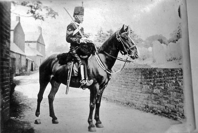 Frederick Poole who fought in the Boer War in full military uniform on horseback Rectory Lane