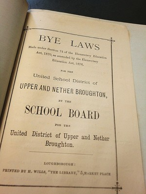 Printed School Board Bye Laws from 1870's for Upper & Nether Broughton.By kind permission Nottinghamshire Archives